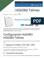 HUAWEI HG658d Telmex Configuracion Apertura de Puertos
