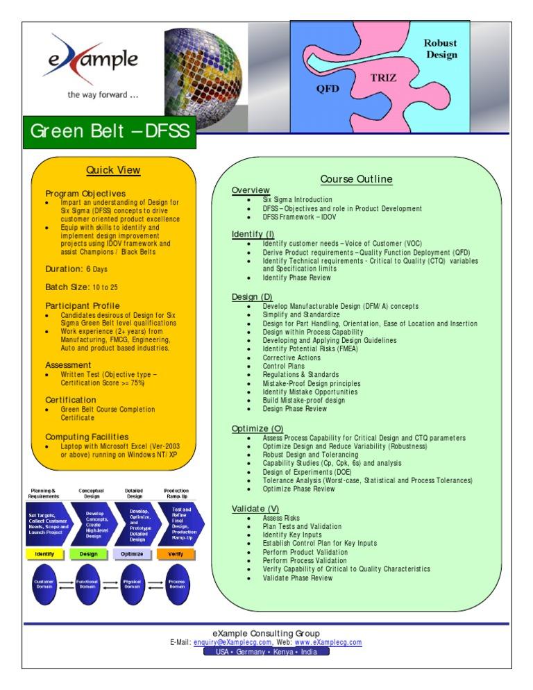 Design For Six Sigma Training Brochure
