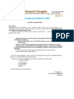 Our Journals Are Listed in UGC