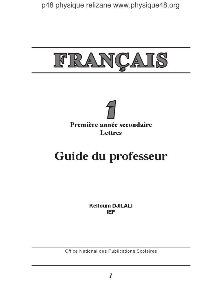 Guide Du Professeur 1as Lecture Processus Communication