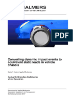 Converting dynamic impact events to equivalent static loads in vehicle chassis