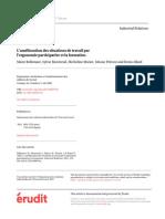 L'Amélioration Des Situations de Travail Par l'Ergonomie Participative Et La Formation 2001