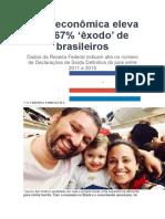 Crise econômica eleva em 67% êxodo de brasileiros