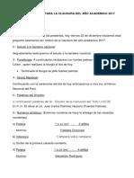 Programacion Para La Clausura Del Año Academico 2017