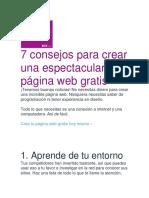 7 Consejos Para Crear  Página Web Gratis