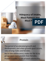 Adequacy of Intake, Meal Pattern and Meal