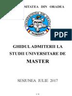 Ghid Admitere Iulie FSSU 2017 Masterat