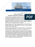 """GACETILLA DE PRENSA N°75 OPERACIONES DE BÚSQUEDA DEL SUBMARINO ARA """"SAN JUAN"""""""