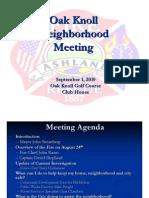 Oak Knoll Neighborhood Meeting