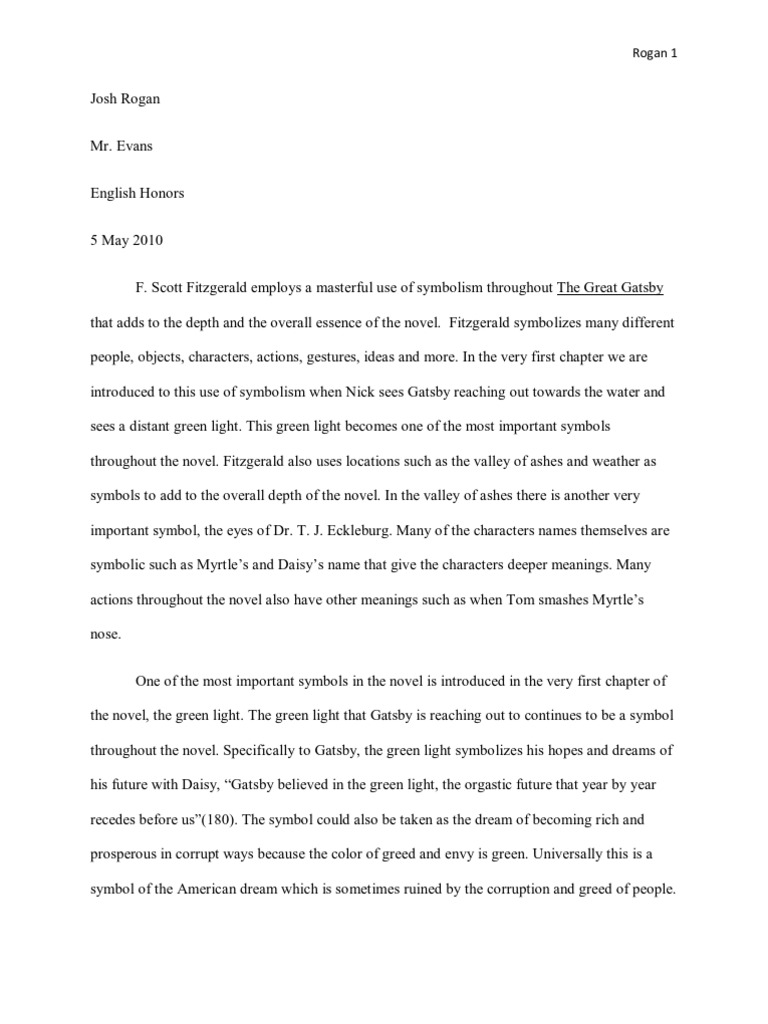 The Great Gatsby Essay The Great Gatsby