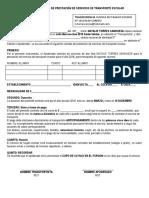 Contrato de Prestación de Servicios de Transporte Escolar