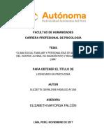 CLIMA SOCIAL FAMILIAR Y PERSONALIDAD EN ADOLESCENTES DEL CENTRO JUVENIL DE DIAGNÓSTICO Y REHABILITACIÓN DE LIMA