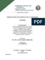 Informe Proyecto de Salud Ment
