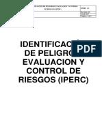 Portada Identificación de Peligros, Evaluacion y Control de Riesgos (Iperc)