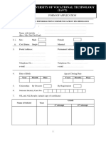 Application Form Univotec