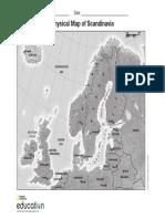 Physical Map Scandinavia