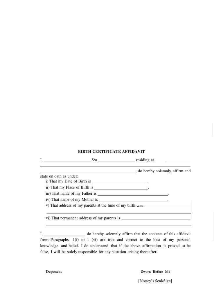 Tcs preparation ilp birth certificate affidavit yelopaper Image collections