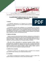 La Public Id Ad Institucional en La Clase de Lengua a y Literatura