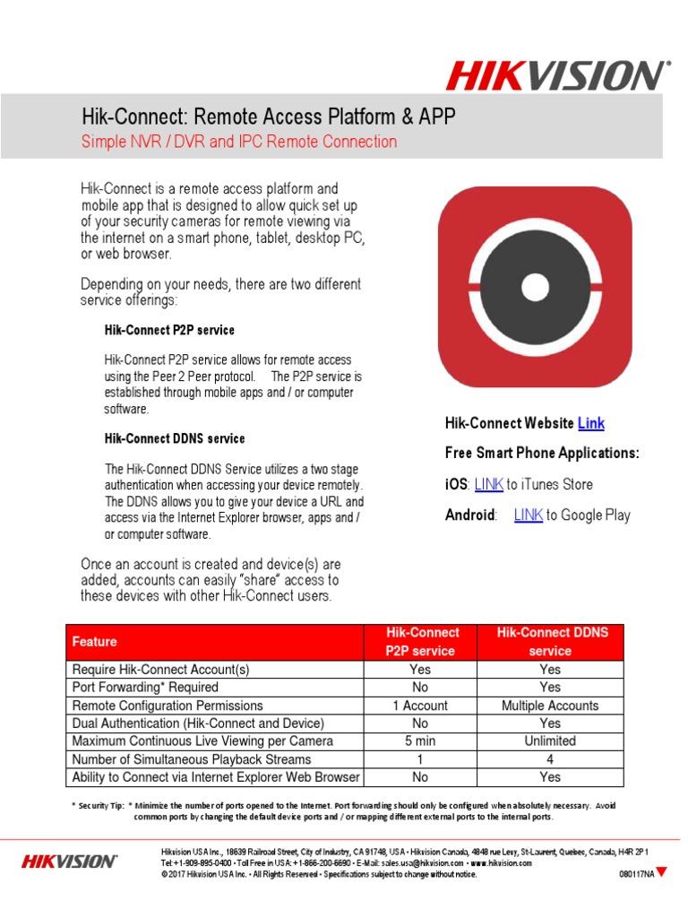 Hik-Connect Data Sheet NA090517 | Aplicativo Móvel | Porta