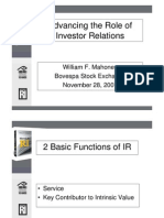 Advancing the Role of Investor Relations