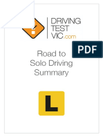 Road to Solo Driving Summary Driving Test VIC