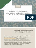 Lembaga - Lembaga Yang Memanfaatkan Dan Menggunakan Data Hidrologi Di Indonesia