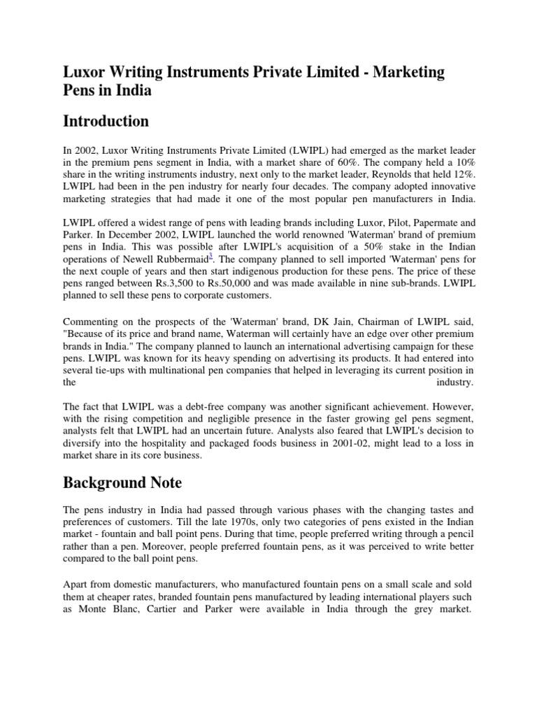 pen industry in india report