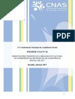 Informe Cnas Nº 02 Orientações Temáticas e Organizativas Para as Conferências Municipais de Assistência Social de 2017 Apresentado Na Rda