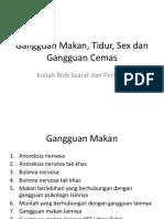Gangguan Makan, Tidur, Sex Dan Gangguan Cemas