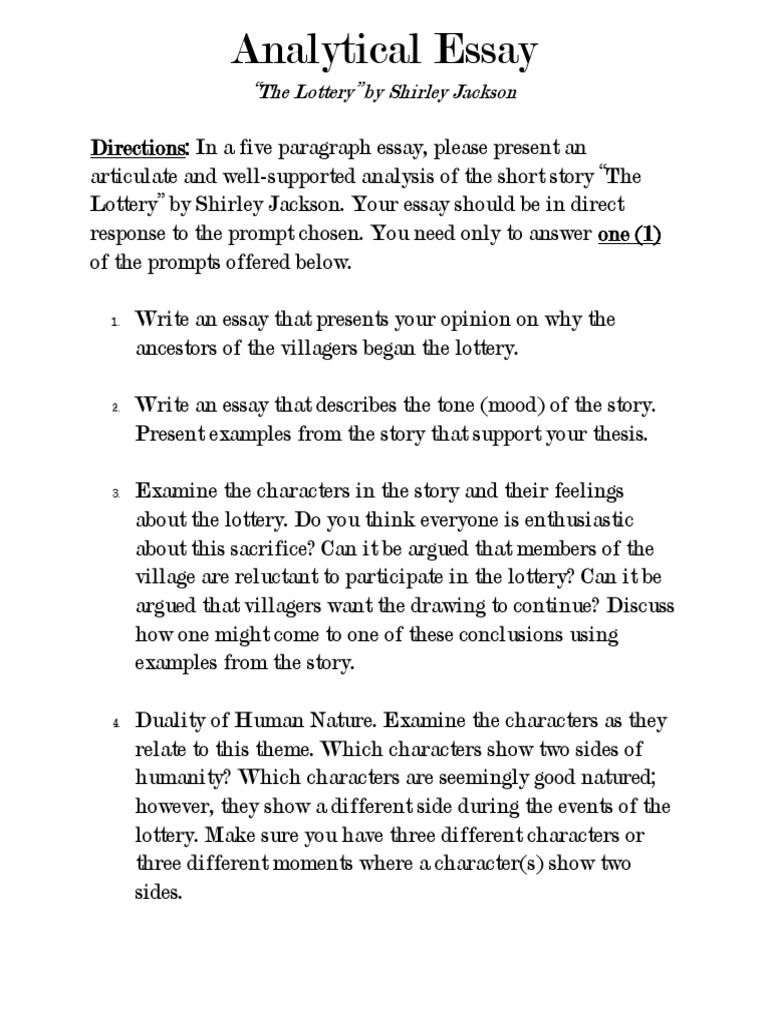 analytical essay sample assignment for the lottery