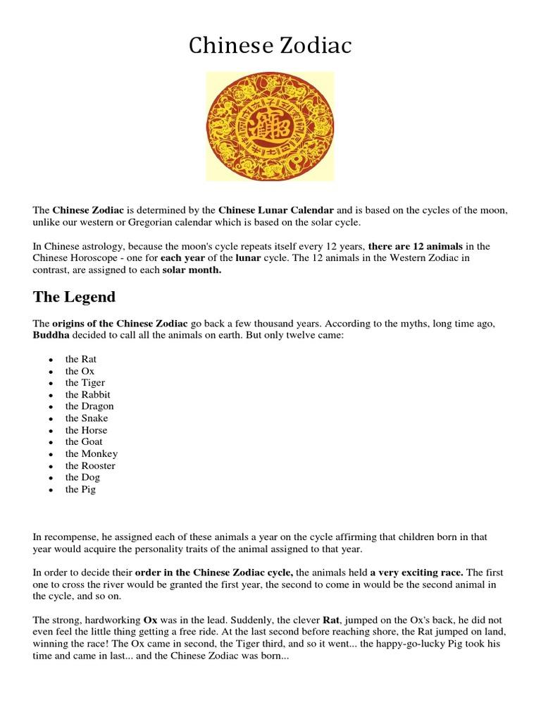 chinese-zodiac docx | Chinese Zodiac | Astrology