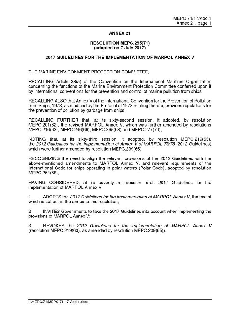 Resolution Mepc29571 Adopted On 7 July 2017 2017 Guidelines