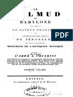 Luigi Aloisi Chiarini - Le Talmud de Babylone en Langue Française (Tome 1 et 2)