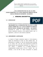 Memoria Descriptiva Del Jr Jorge Chavez