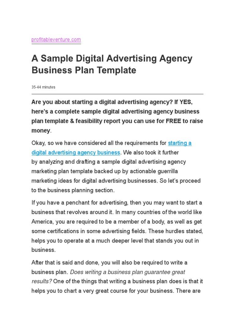 A Sample Digital Advertising Agency Business Plan Template.pdf | Digital  Marketing | Advertising