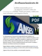 Claves Del Desfinanciamiento de ANSES