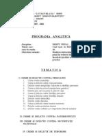 Programa Analitica Drept Penal Special