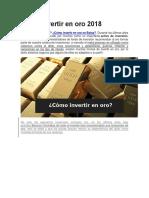 Como Invertir en Oro 2018