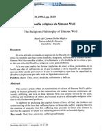 La Filosofía Religiosa de Simone Weil