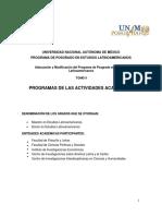 Plan de Estudios. Tomo 2. Programas de Las Actividades Academicas