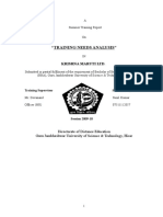 Training Needs Analysis -  Project Report