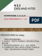 Lesson 5.3 Trapezoids and Kites
