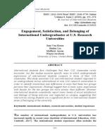 18.Engagement, satisfaction, and belonging of international undergraduates at U.S. research universities. Sam Van Horne, Shuhui Lin, Matthew Anson, & Wayne Jacobson, University of Iowa, United States; pp. 351-374