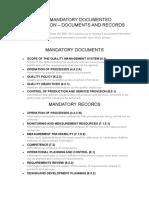 Iso 9001-2015 Mandatory Documents & Records