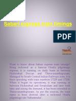 Sabari Express Train Timings