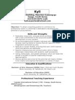 Kylis Teaching Resume- Updated May 2010