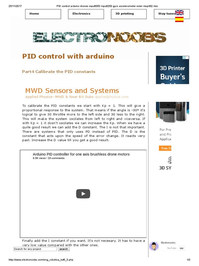 PID Control Arduino Drones Mpu6050 | Electromagnetism | Electronics