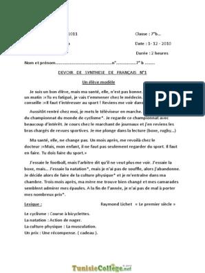 Devoir De Synthese N 1 Francais Un Eleve Modele 7eme