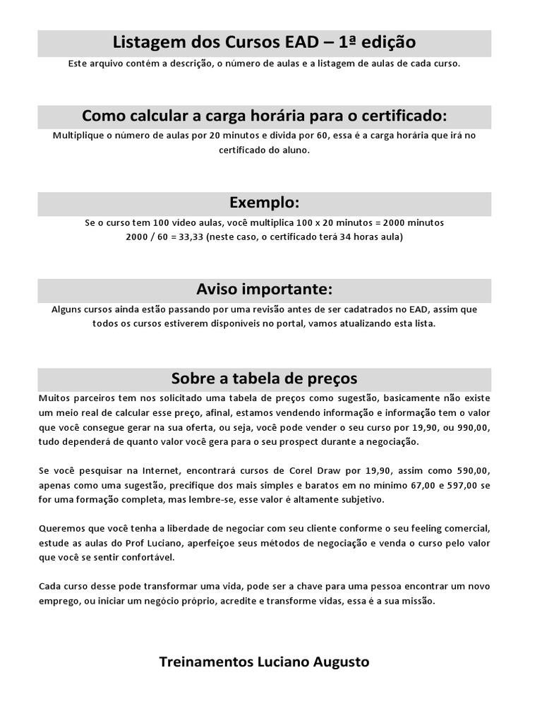 254c4643e0 Lista de Cursos Luciano Augusto (Edição 01)