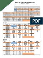 Jadwal Pelajaran Semester 2 t.p. 2017 - 2018 Update 18 Dec 2017